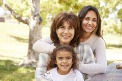 Tres generaciones de mujeres en una familia meriendan en el campo en un parque imagen de archivo