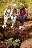 Tres generaciones de mujeres que se sientan en un puente en un bosque Foto de archivo libre de regalías