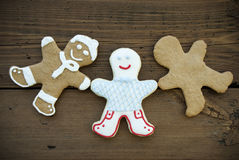 Tres Ginger Bread Man feliz Imágenes de archivo libres de regalías