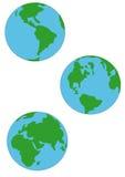 Tres globos de la tierra Fotos de archivo libres de regalías