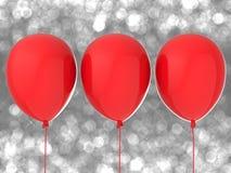 Tres globos rojos Imagen de archivo libre de regalías