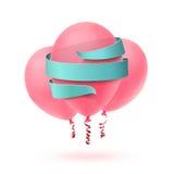Tres globos rosados aislados con la cinta azul en blanco libre illustration