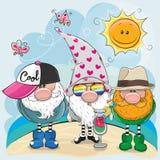 Tres gnomos en la playa libre illustration
