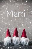 Tres gnomos rojos, cemento, copos de nieve, medios de Merci le agradecen fotografía de archivo libre de regalías