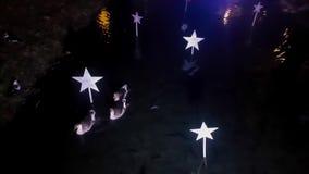 Tres gooses en adornados con las estrellas acumulan la nataci?n almacen de video