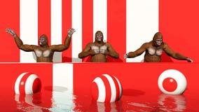 Tres gorilas en un podio ilustración del vector