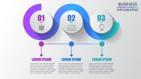 Tres graduales creativos modernos del infographics del negocio de los pasos pueden ilustrar un trabajo de la estrategia, del fluj ilustración del vector