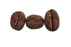 Tres granos de café Imágenes de archivo libres de regalías