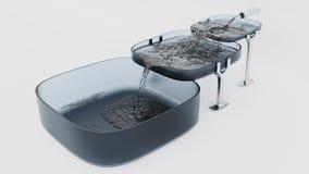 Tres Grey Square Bowls donde agua que se llena fotografía de archivo libre de regalías