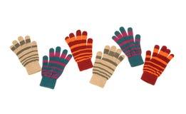 Tres guantes rayados de los pares Imagen de archivo libre de regalías