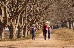 Tres hermanas de las muchachas que corrían saltar abajo de árbol alinearon el camino de tierra Fotos de archivo libres de regalías