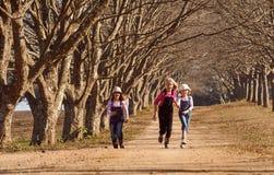 Tres hermanas de las muchachas que corrían saltar abajo de árbol alinearon el camino de tierra Fotografía de archivo libre de regalías