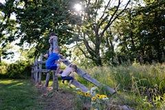 Tres hermanos jovenes que suben la cerca en granja fotografía de archivo