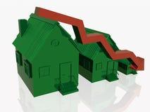 Tres hogares verdes y flecha roja stock de ilustración