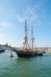 Tres Hombres在2014年4月16日的法尔茅斯到达了 免版税库存图片