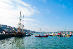 The Tres Hombres arrived at Falmouth on 16 April 2014 Stock Photos
