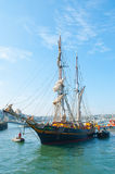 The Tres Hombres arrived at Falmouth on 16 April 2014 Royalty Free Stock Images