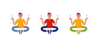 Tres hombres finos se sientan con una bifurcación y un cuchillo en sus manos Fije de hombres hambrientos Ilustración del vector libre illustration