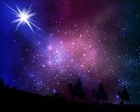 Tres hombres sabios en el fondo del cielo y de estrellas cósmicos libre illustration