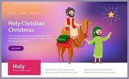 Tres hombres sabios en los camellos que van a Belén stock de ilustración
