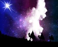 Tres hombres sabios por una estrella en el fondo del cielo cósmico stock de ilustración