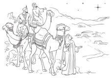 Tres hombres sabios que siguen la estrella de Belén Imagen de archivo