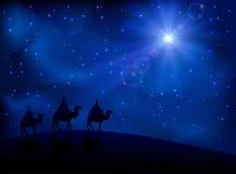 Tres hombres sabios y estrellas ilustración del vector