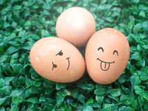 Tres huevos con el dibujo de la sonrisa puesto en la hierba verde Fotos de archivo libres de regalías