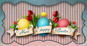 Tres huevos de Pascua con las flores. ilustración del vector