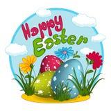 Tres huevos de Pascua con un modelo, las flores, la hierba, las nubes y las letras Tarjeta de felicitación Fotografía de archivo libre de regalías