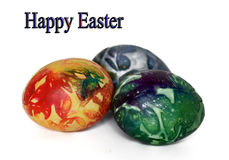 Tres huevos de Pascua hermosos en blanco Imágenes de archivo libres de regalías