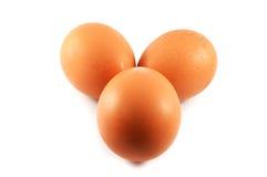 Tres huevos en blanco Fotografía de archivo libre de regalías