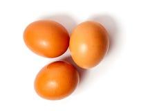 Tres huevos en el fondo blanco Fotos de archivo libres de regalías