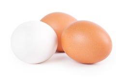 Tres huevos en el fondo blanco Foto de archivo