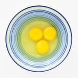 Tres huevos listos para batir Imagen de archivo