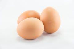 Tres huevos se aíslan en un fondo blanco fotos de archivo libres de regalías