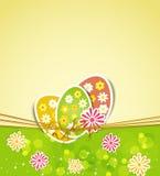 Tres huevos y flores de Pascua stock de ilustración