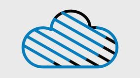 Tres iconos animados de la nube, hay un canal alfa stock de ilustración