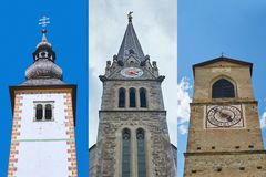 Tres iglesias europeas construidas en diversos estilos arquitectónicos que representan Eslovenia, Liechtenstein y Suiza imagen de archivo libre de regalías