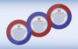 Tres infographic circulares de los pasos Fotografía de archivo