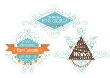 Tres insignias de la Navidad ilustración del vector