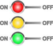 Tres interruptores coloreados Imagen de archivo libre de regalías