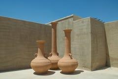 Tres jarros plásticos marrones grandes Fotografía de archivo