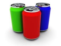Tres latas Imagen de archivo libre de regalías