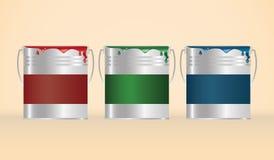 Tres latas de la pintura RGB Fotografía de archivo libre de regalías