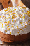 Tres leches cake covered with white icing closeup Royalty Free Stock Photos