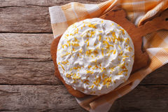 Tres leches cake with white frosting. Horizontal top view Stock Photo