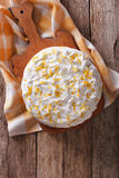 Tres leches cake with white frosting. vertical top view Stock Image
