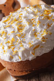Tres leches tasty pie covered with white icing macro. Vertical Stock Photography