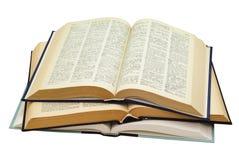 Tres libros abiertos Imágenes de archivo libres de regalías